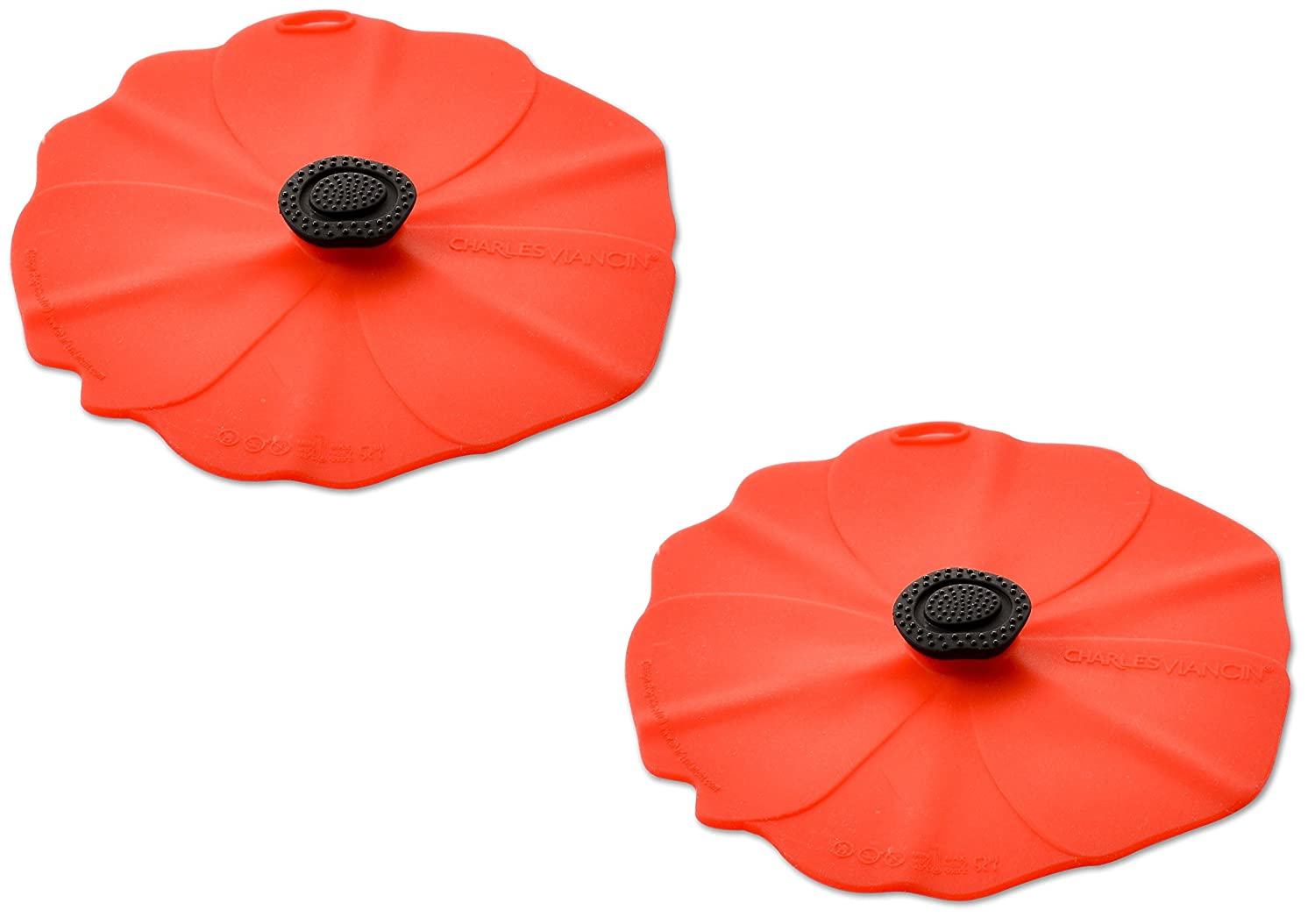 Charles Viancin Airtight Silicone Drink Covers, Set of 2, Poppy 2905