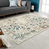 Persian-Rugs Cream 6495 Distressed 8x10 Area Rug Carpet Large New, 8' x 10'