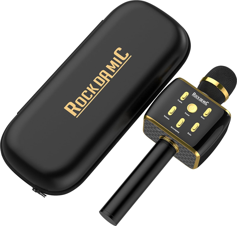 Rockdamic Karaoke Wireless Bluetooth Microphone No Echo Mics Cb Radio Wiring Machine Needed Mic For Kids Voice Works As Speaker Aluminum Alloy