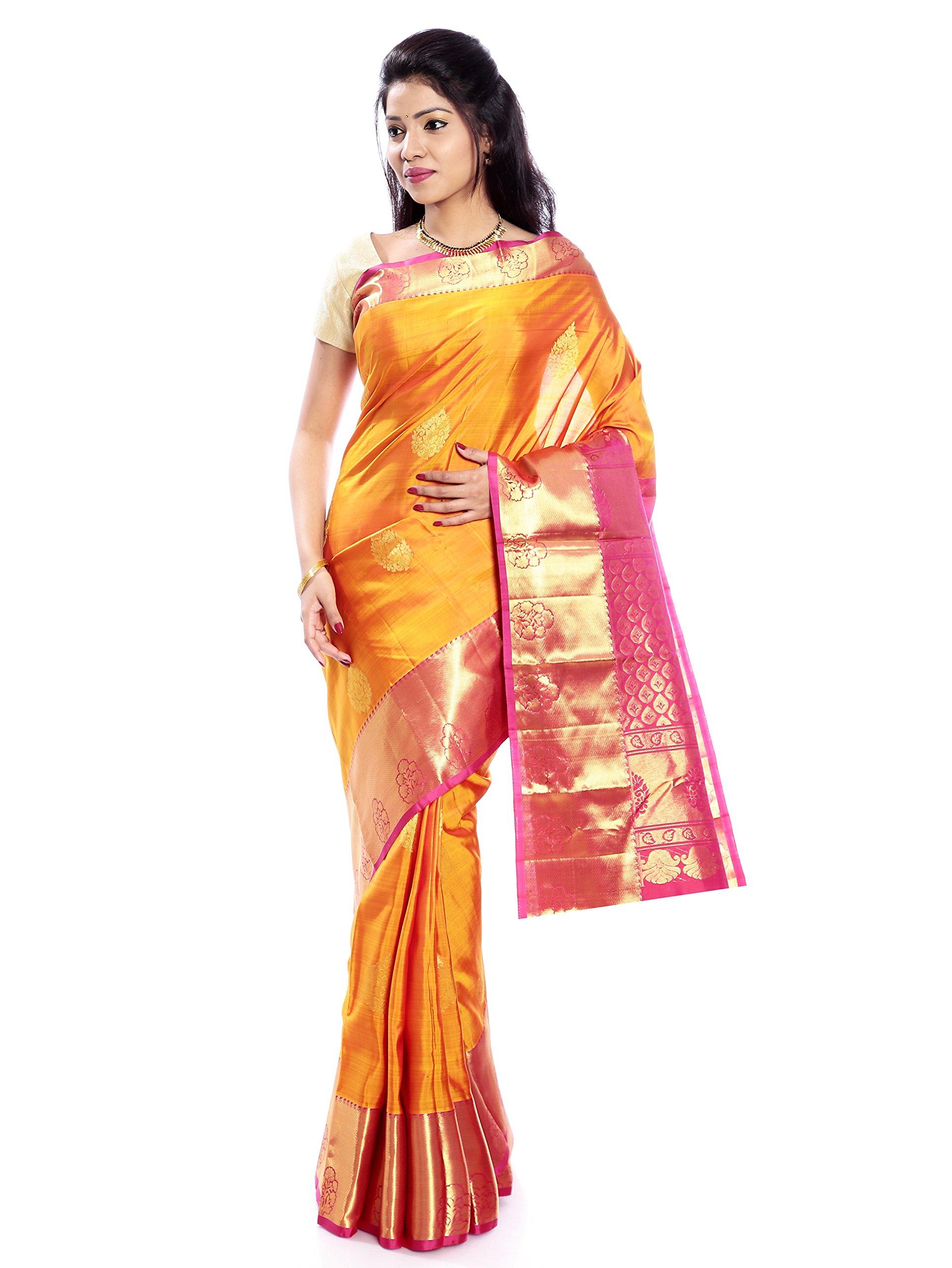 Mandakini — Indian Women's Kanchipuram - Handloom - Pure Silk Saree (Yellow ) (MK231)