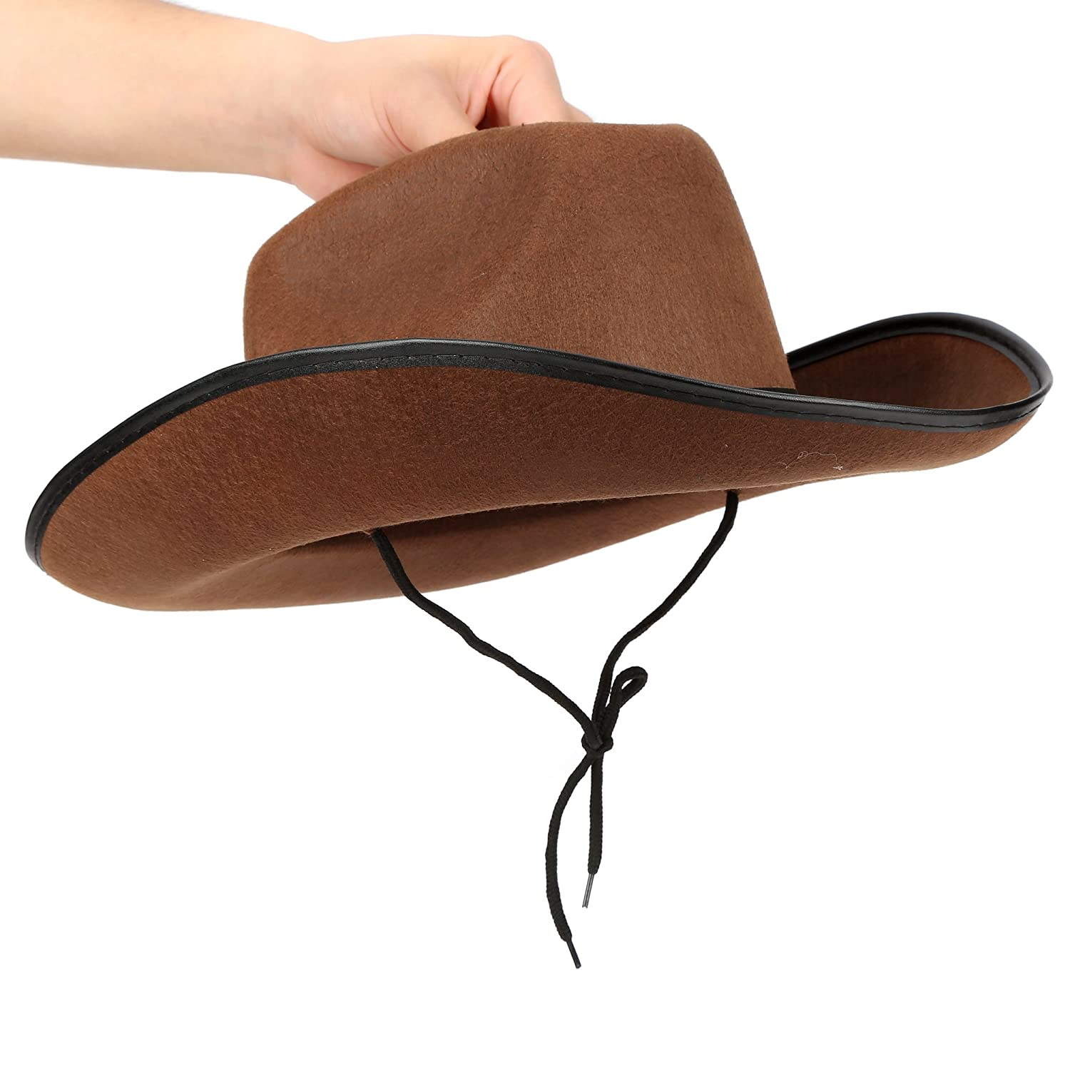Fun Central AZ963, 1 Pc Brown Felt Studded Cowboy Hat, Cowboy Toy Hat for Men, Western Cowboy Hat