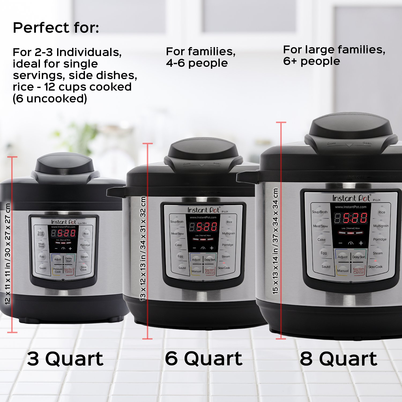 Saut/é Rice Cooker Slow Cooker and Warmer Instant Pot LUX60V3 V3 6 Qt 6-in-1 Multi-Use Programmable Pressure Cooker Steamer