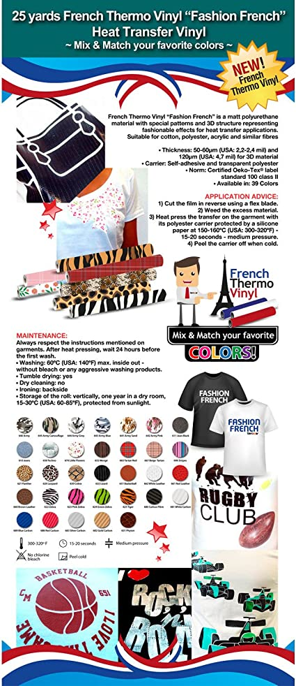 Army and 3D ***Mix /& Match your favorite colors*** Animal Vinyl Sheet 15 x 12 FASHION FRENCH Heat Transfer