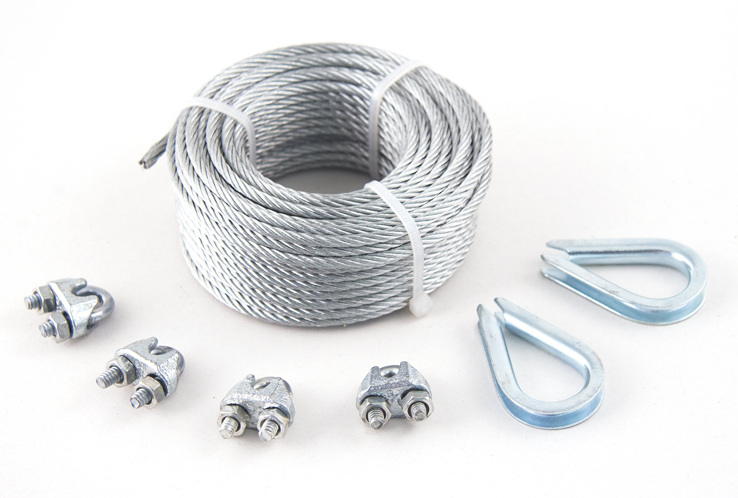 KingChain 504711 1/8'' x 50' Galvanized Aircraft Cable Kit