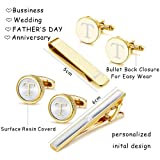 Thunaraz Cufflinks Tie Bar Clip Set Initials