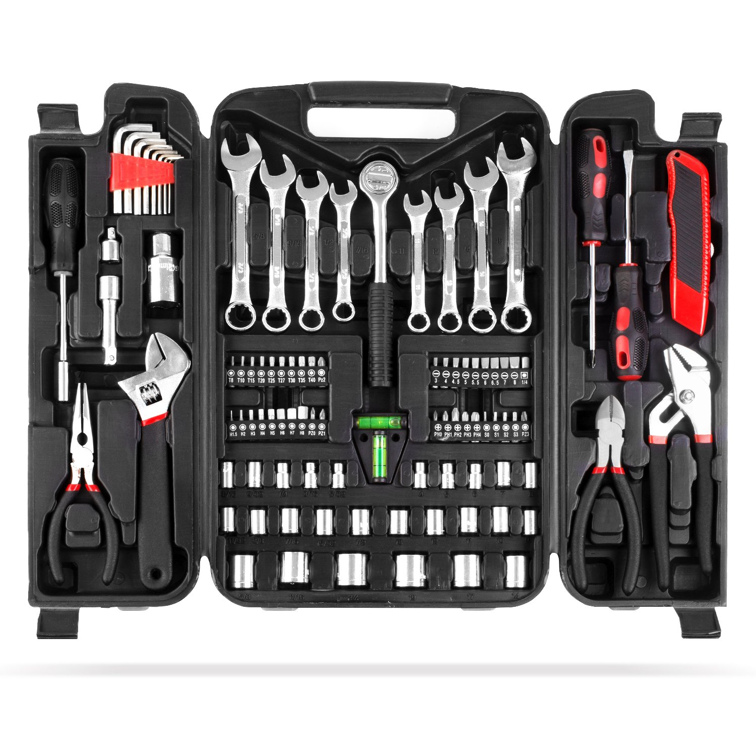 MVPOWER 95 Piece Home Mechanics Repair Tool Kit,General Household Hand Tool Set Wrench Set with Plastic Toolbox Storage Case