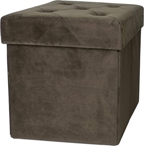Velvet Espresso Square Luxury Storage Ottoman with Padded Seat, Upholstered Collapsible Folding Bench Foot Rest, 15 Inches