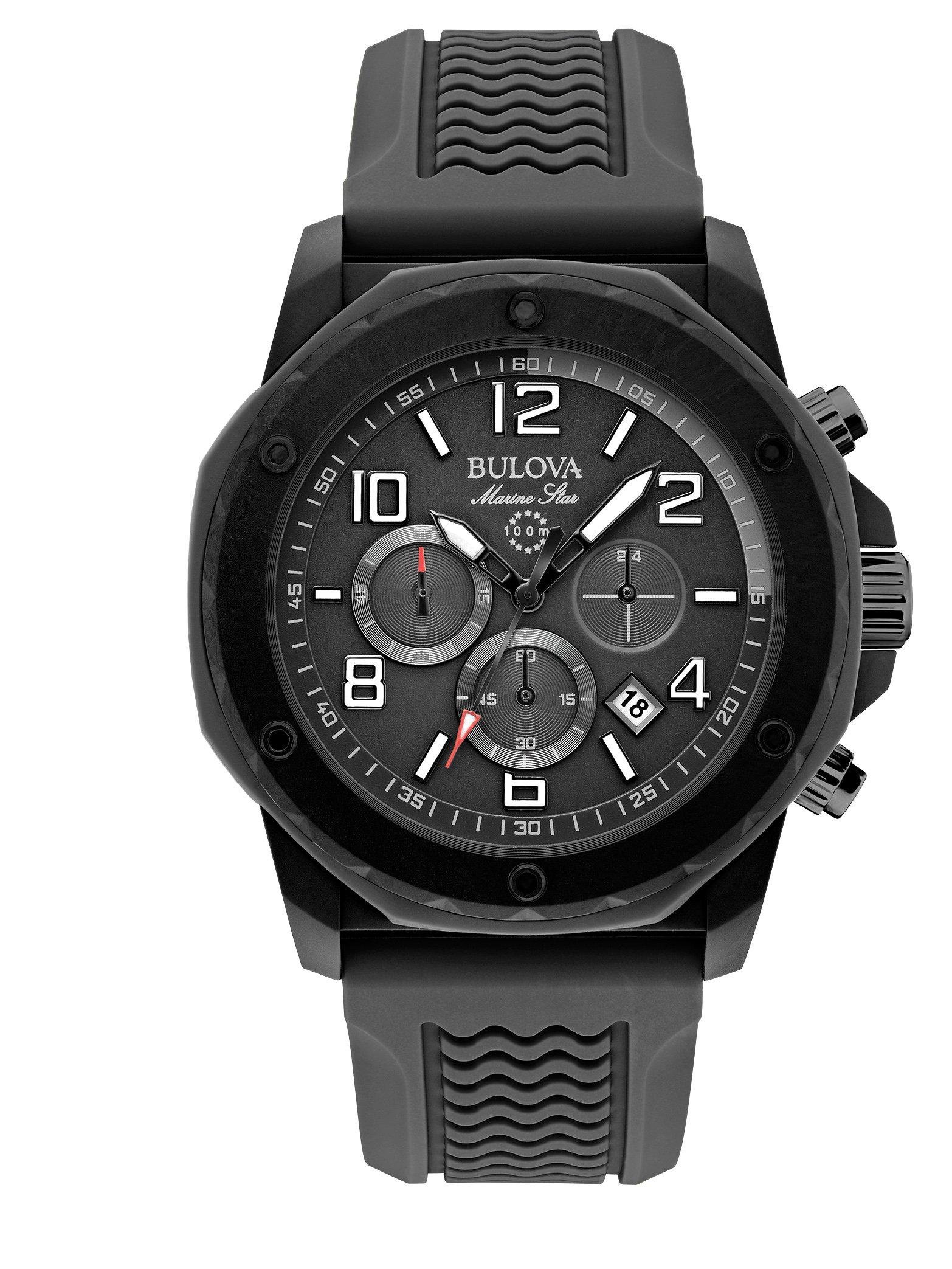 Bulova Marine Star Black Dial SS Rubber Chrono Quartz Men's Watch 98B223 by Bulova