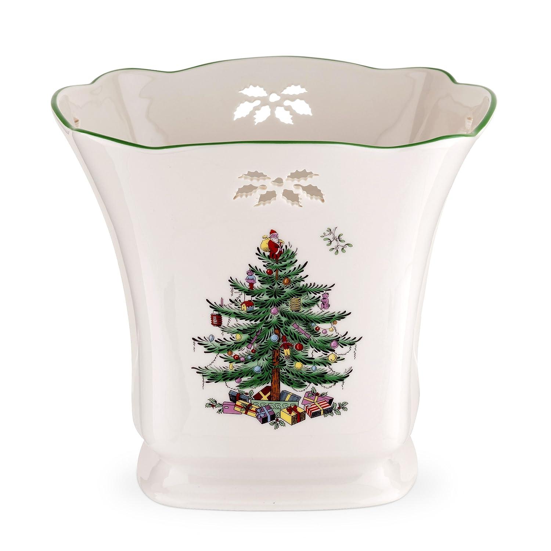 Amazon Com Spode Christmas Tree Pierced Square Pointsettia  - Christmas Tree Discounts