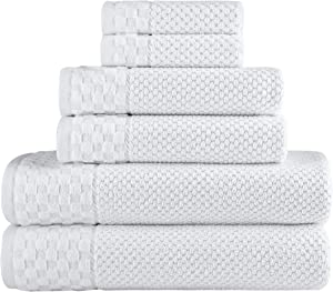 Classic Turkish Towels Luxury 6 Piece Cotton Bath Towel Set - Jacquard Woven Soft Textured White Towels Made with 100% Turkish Cotton