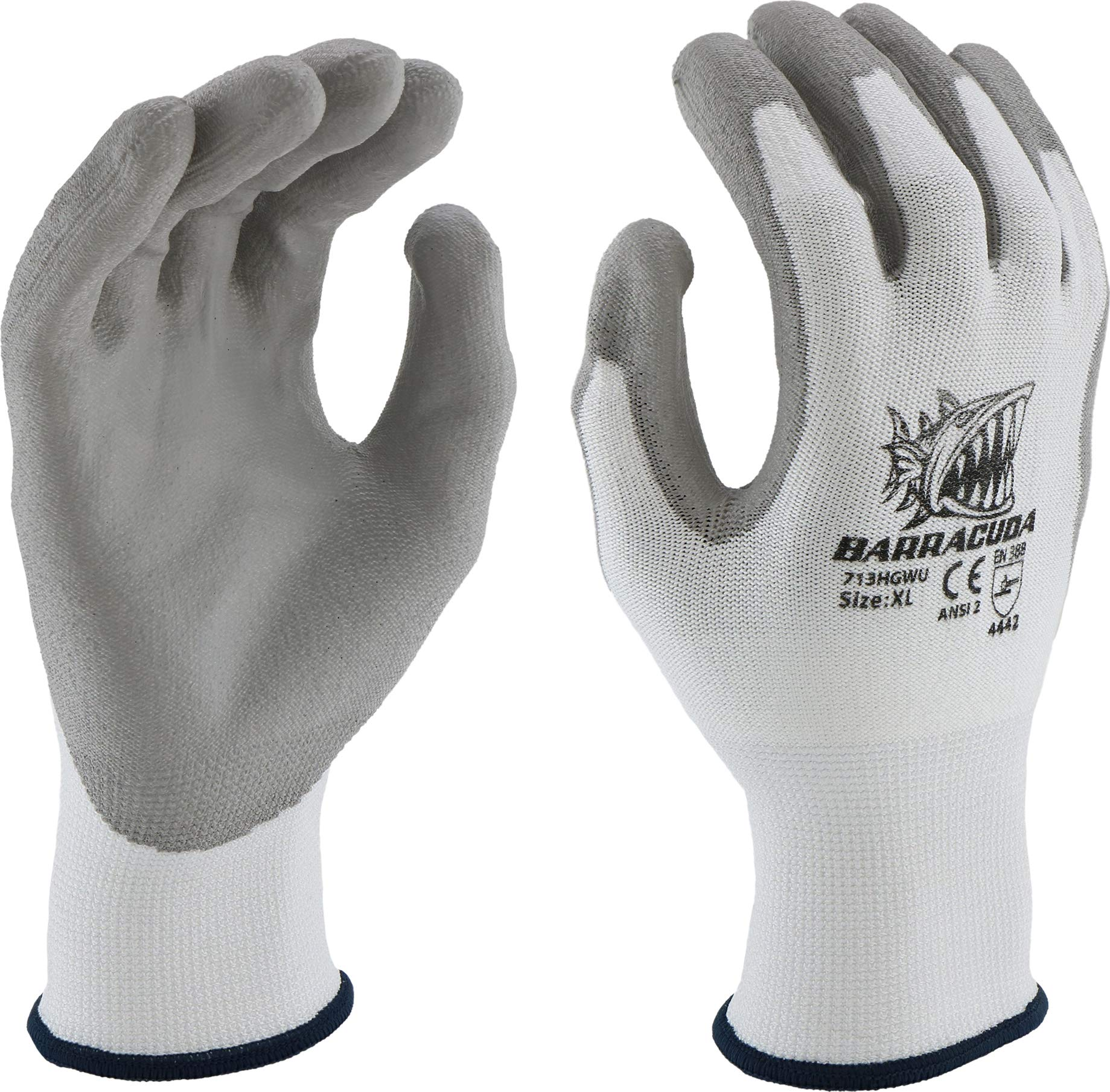 West Chester 713HGWU XL Barracuda White HPPE Shell with Grey PU Dip Cut Protection Gloves, XL (Pack of 12)