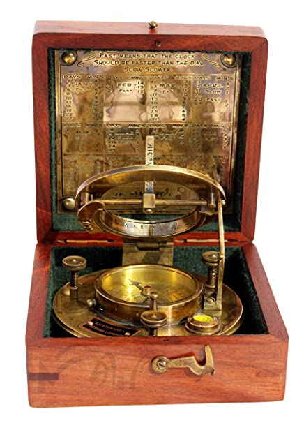 Antiques Antique J.h Steward Brass Sundial Maritime Nautical Compass With Wooden Box