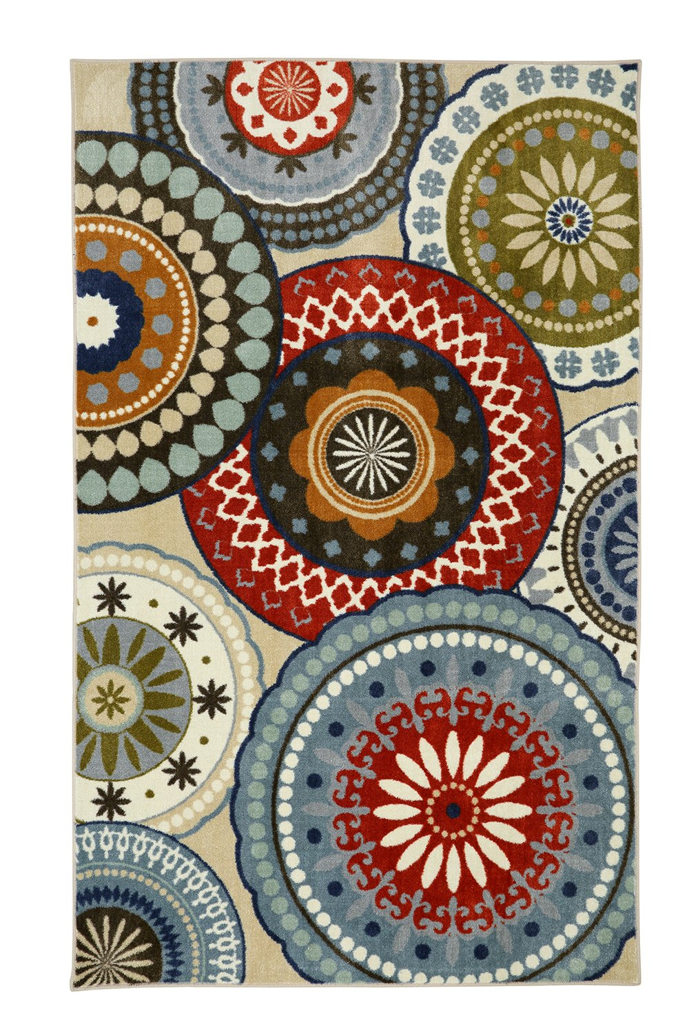 Mohawk Home Aurora Forest Suzani Blue Vintage Geometric Spheres Printed Area Rug, 5'x8', Multicolor