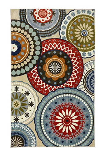 Mohawk Home Aurora Forest Suzani Blue Vintage Geometric Spheres Printed Area Rug, 5 x8 , Multicolor