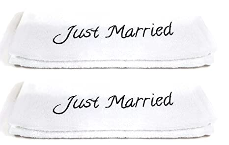 "Toallas de mano de boda Set ""Just Married – 2 Unidades, Blanco"