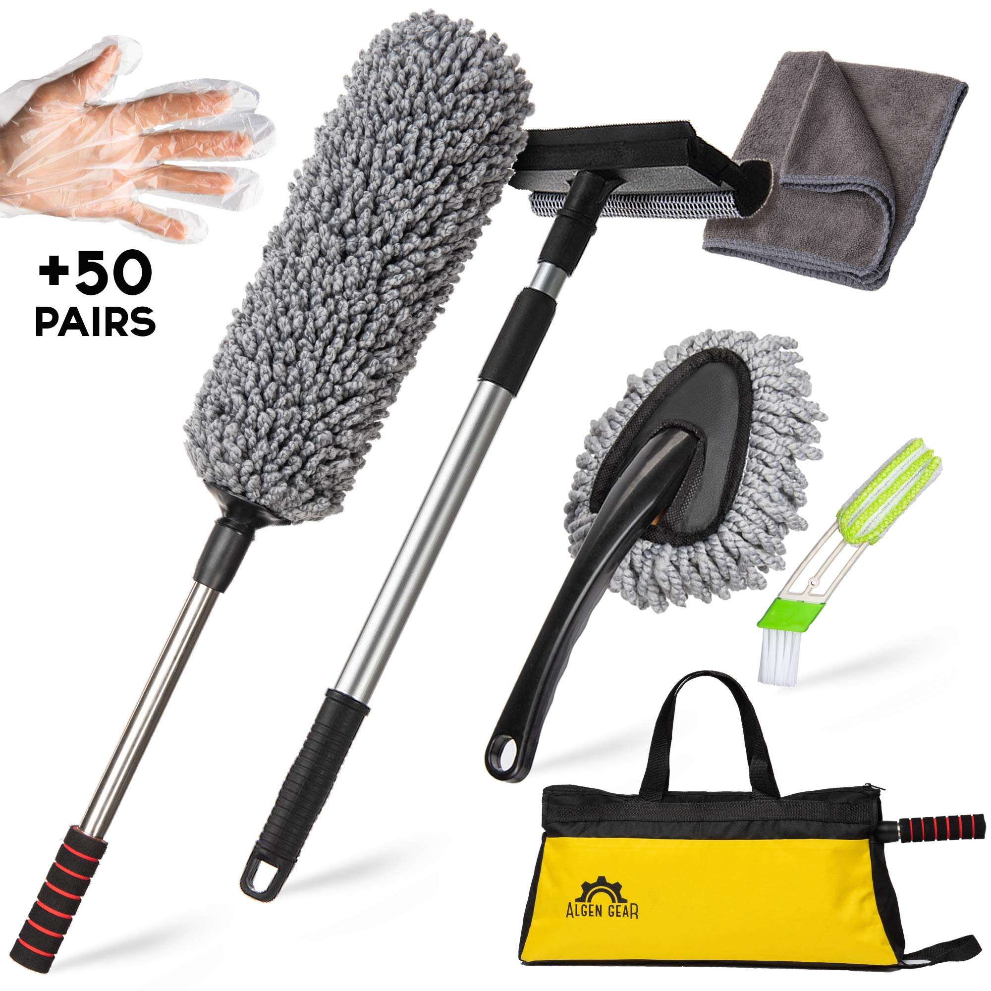 Algen Gear Car Duster Kit - Multipurpose (7pc) Car Cleaning Kit with Bag - Professional Car Wash Kit - Excellent for Home Office Auto Motorcycle Truck - Exterior or Interior Use Car Cleaning Tools