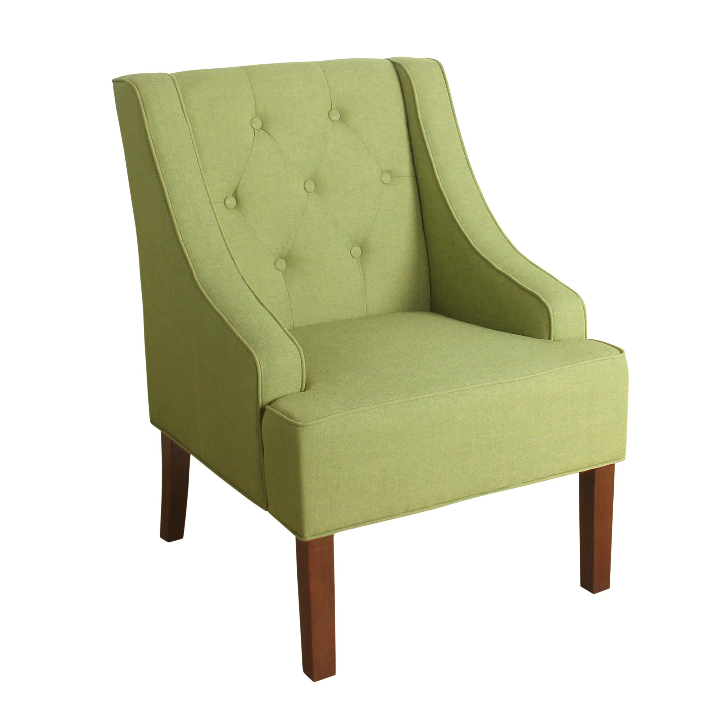 HomePop Kate Tufted Swoop Arm Accent Chair, Olive Green