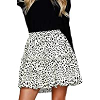 Alelly Women's Summer Cute High Waist Ruffle Skirt Floral Print Swing Beach Mini Skirt