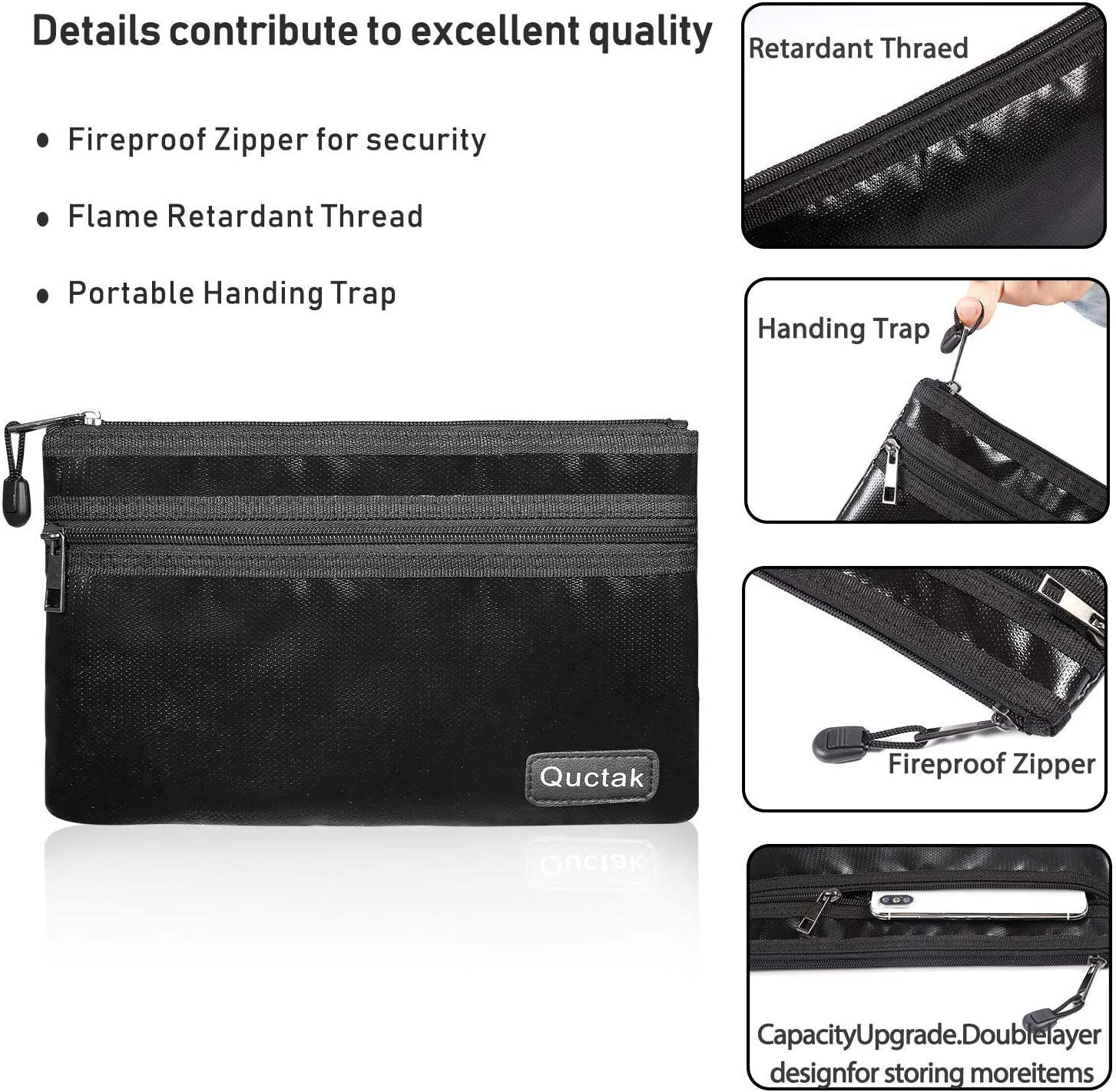 """Fireproof Money Bag Two Pockets Two Zippers,Quctak Fireproof Safe Bag 10.6""""x6.7"""" Waterproof and Fireproof Cash Bag Money Safe Pouch Storage for A5 Bank Deposit,Passport,Jewelry (1 Layer Protection): Office Products"""