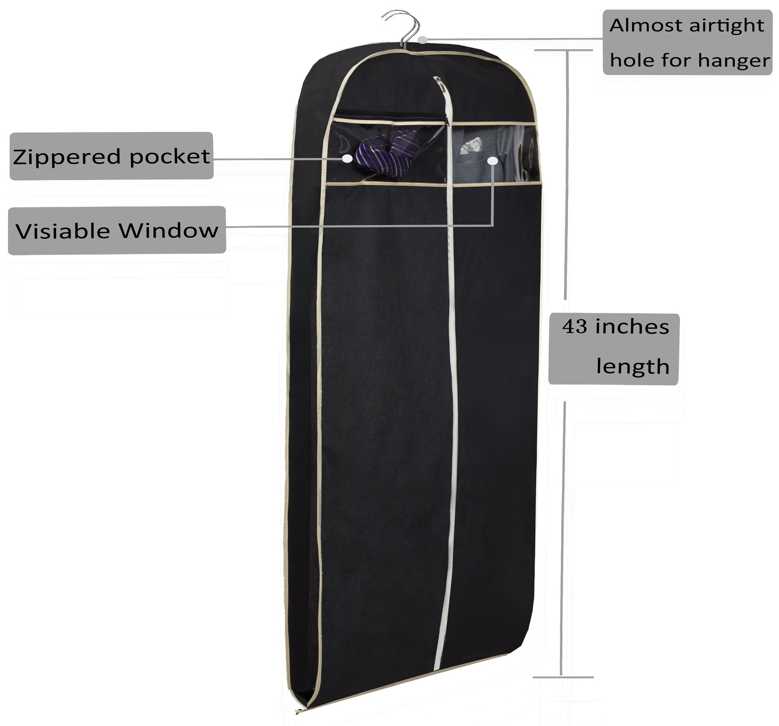 MISSLO 43'' Gusseted Travel Garment Bag with Accessories Zipper Pocket Breathable Suit Garment Cover for Shirts Dresses Coats, Black by MISSLO (Image #6)