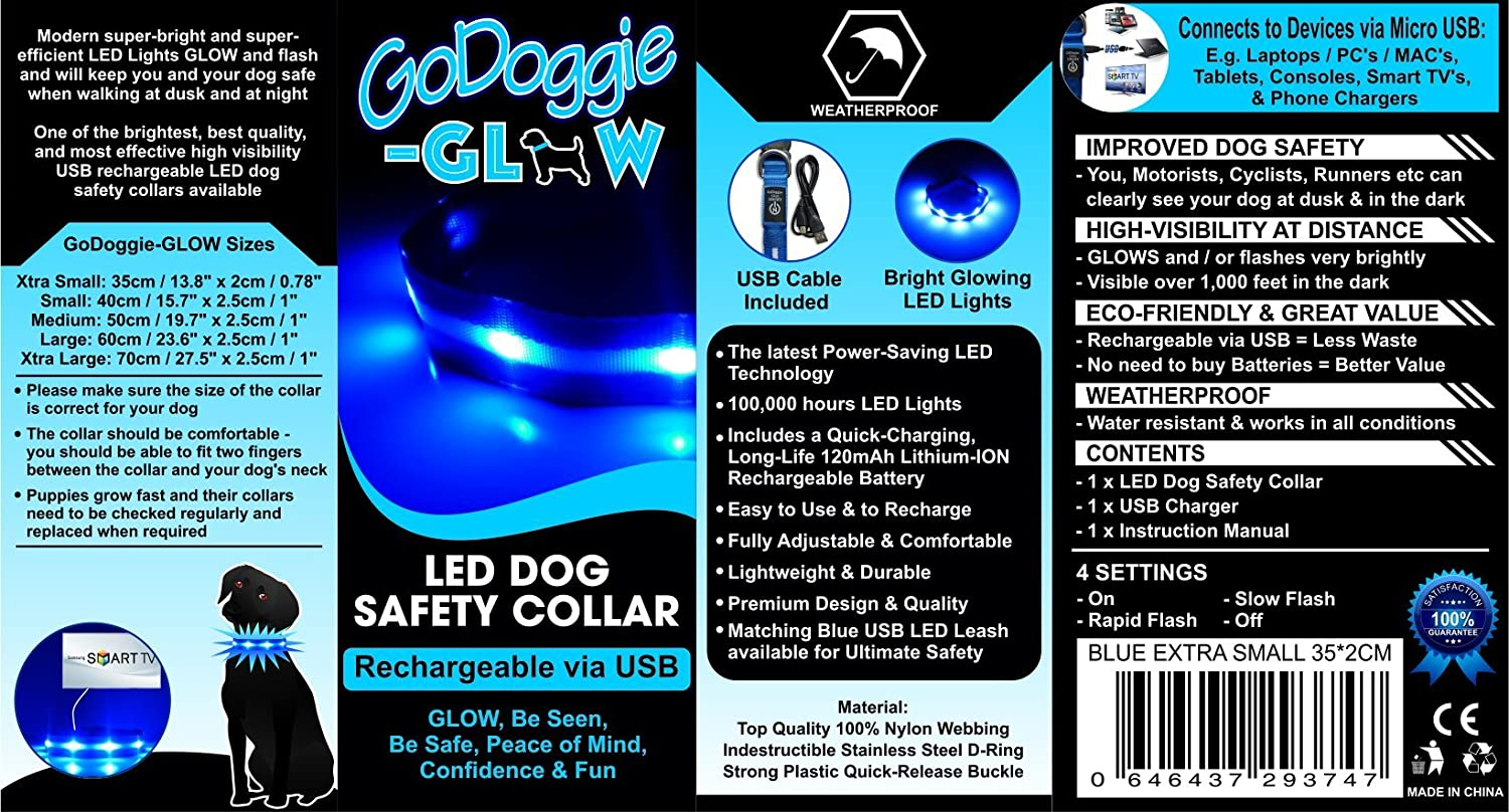 Amazon.com : GoDoggie-GLOW USB Rechargeable LED Dog Safety Collar, X ...
