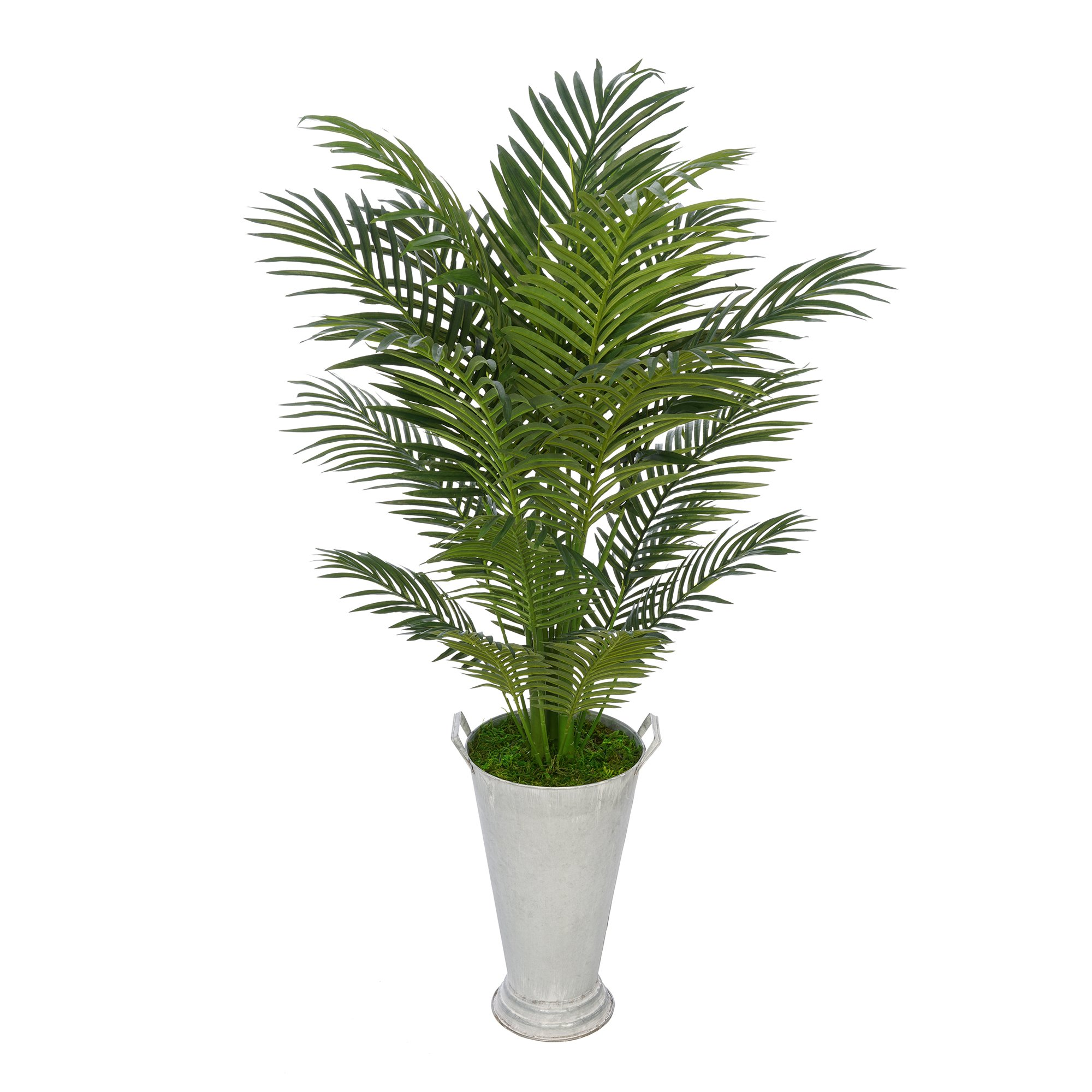 House of Silk Flowers Faux 4-1/2 foot Areca Palm in Galvanized Southern Farm Bucket