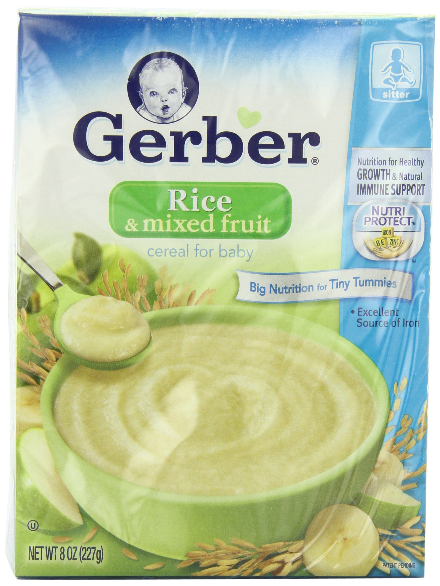 Gerber Cereal, Rice & Mixed Fruit with NutriProtect, 8-Ounce Boxes (Pack of 6)