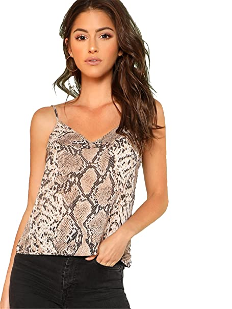89bc941019e2 Romwe Women's Animal Snake Skin Graphic Print Cami Top Multicolor XS