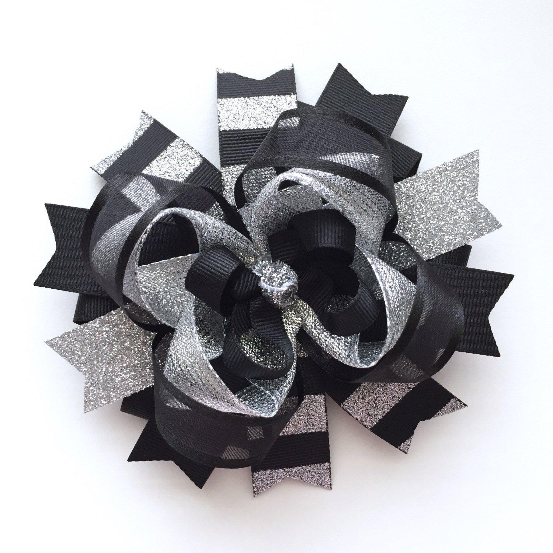 Black Silver Christmas Hair Bow, Handmade Boutique Silver Black Hair Bow, Sparkly Holiday Xmas Bow
