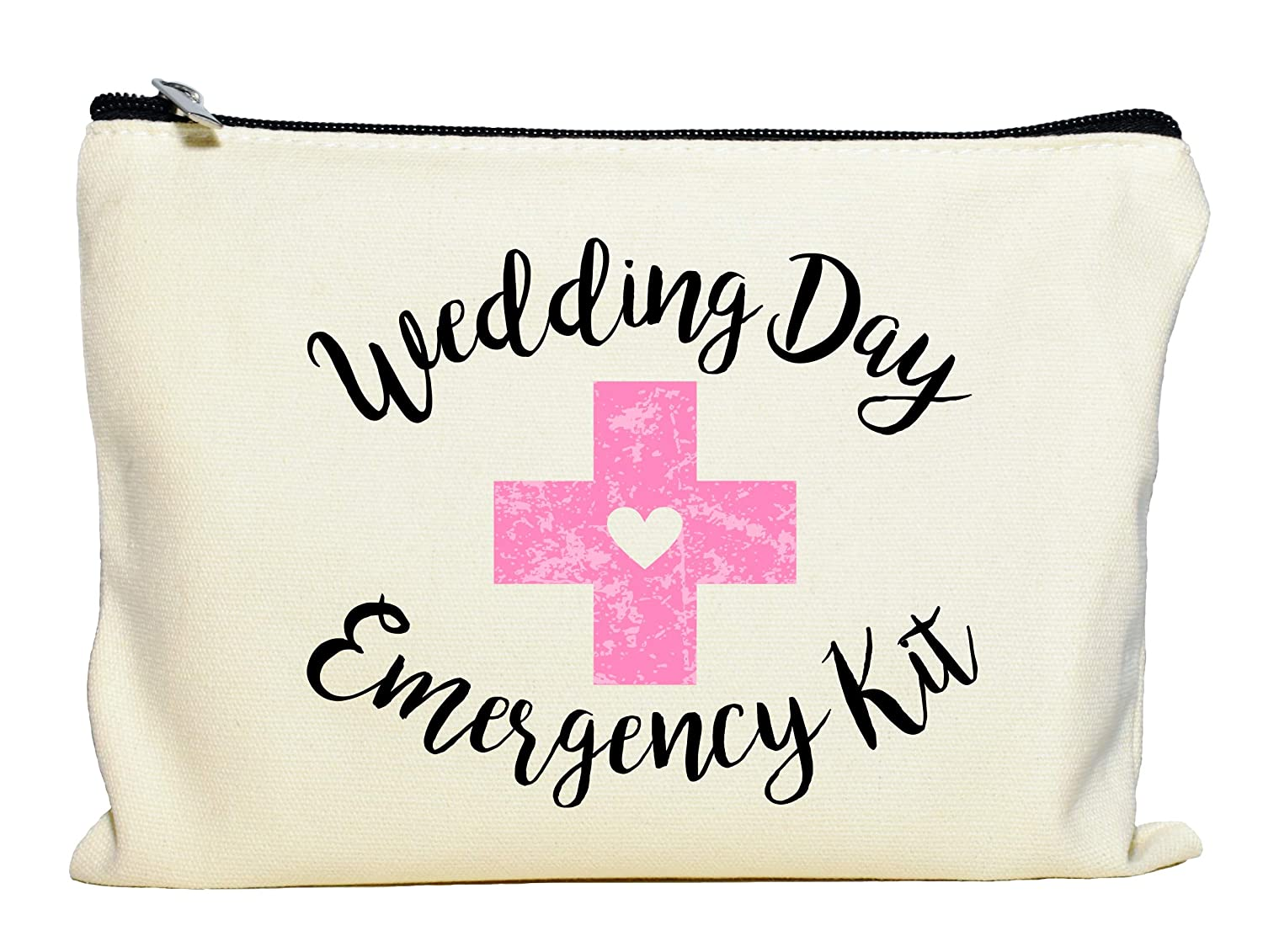 Moonwake Designs Wedding Day Emergency Kit Makeup Bag, Bridal Shower Gift, Wedding Survival Kit, Cosmetic Bag