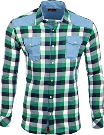 Reslad Camisa de cuadros para hombre material de mezcla manga larga jeans RS-7202: Amazon.es: Ropa y accesorios