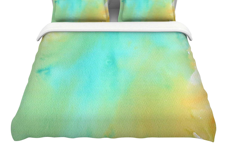 104 x 88, Kess InHouse Li Zamperini Mint Teal GreenKing Cotton Duvet Cover