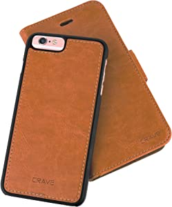 iPhone 6/6s Plus Leather Wallet Case, Crave Vegan Leather Guard Removable Case for Apple iPhone 6/6s Plus (5.5 Inch) - Brown