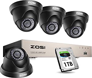 ZOSI 1080P Home Security Camera System with 1TB Hard Drive,5MP Lite H.265+ 8Channel HD-TVI Wired DVR and 4X 1080P 1920TVL HD Indoor Outdoor Night Vision CCTV Dome Cameras Remote Access, Motion Alert