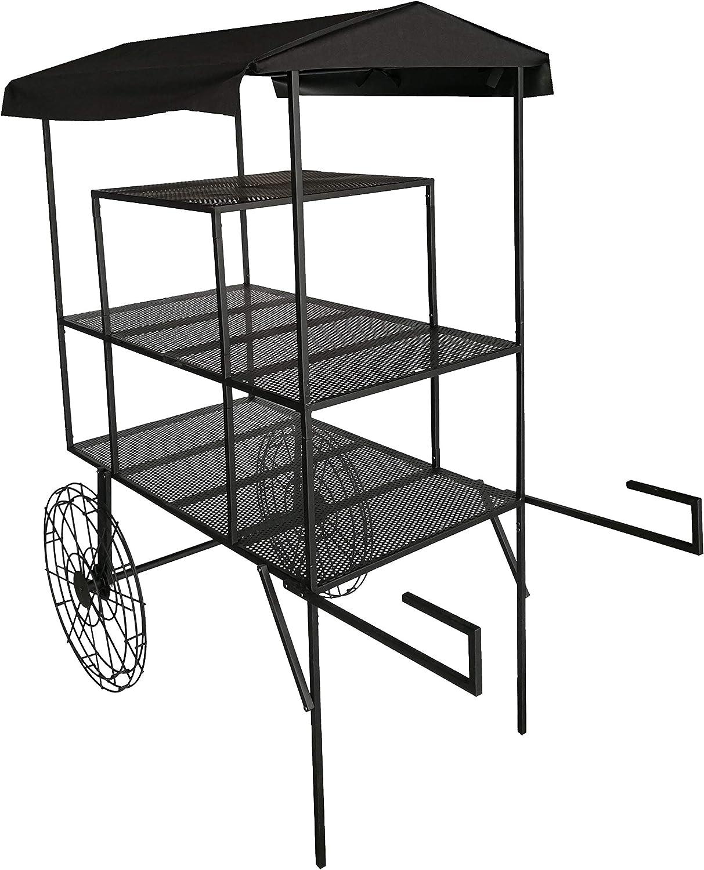 FixtureDisplays Large 3-Tier Flower Cart, Metal Planter Flower Pot Holder Display Rack Stand, Black Finish 16964-NF