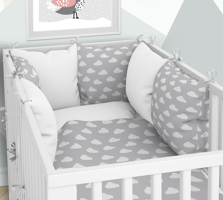 Tour de lit–SIX Coussin Velours les taies d'oreillers pour le lit bébé 70x 140cm KLARA BRIST