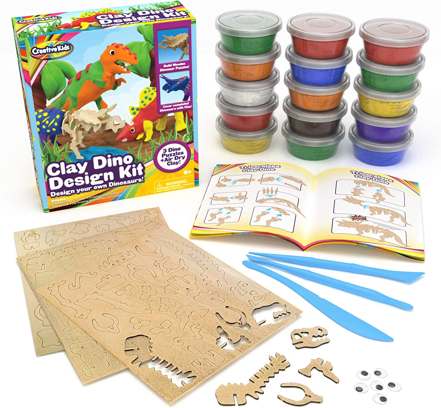 Build Your Own Dinosaur Models w/ Air Dry Modeling Clay - Boys Arts Crafts Set for Kids - 3 x 3D Dino Puzzles with 15 x Molding Modelling Clay - STEM Educational Set - Birthday Gift for Boys