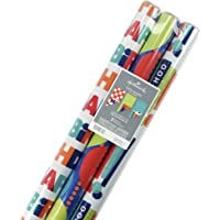 Hallmark 5EWR6215 Reversible Wrapping Paper Celebrate (Pack of 3, 120 sq. ft. TTL.), Kids