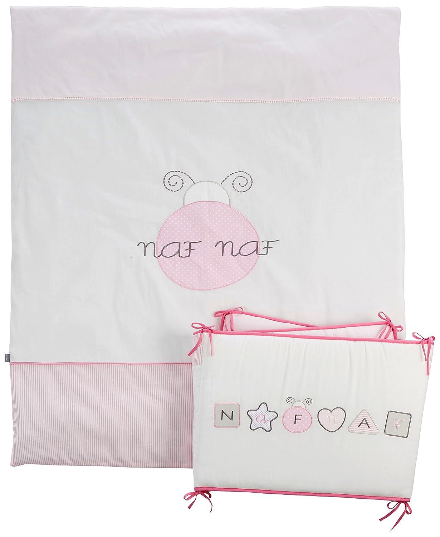 Naf-Naf, Set 2 pezzi, include biancheria e paracolpi per lettino, in 100% cotone ricamato 31972