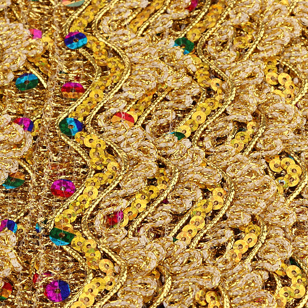 Gold SM SunniMix 14 Yards Gold Lace Trim Fabric Sewing Embroidery Sequin Ribbon DIY Wedding Craft Accessories Hometextile Embroidered Polyester Lace Trimming 1.38inch