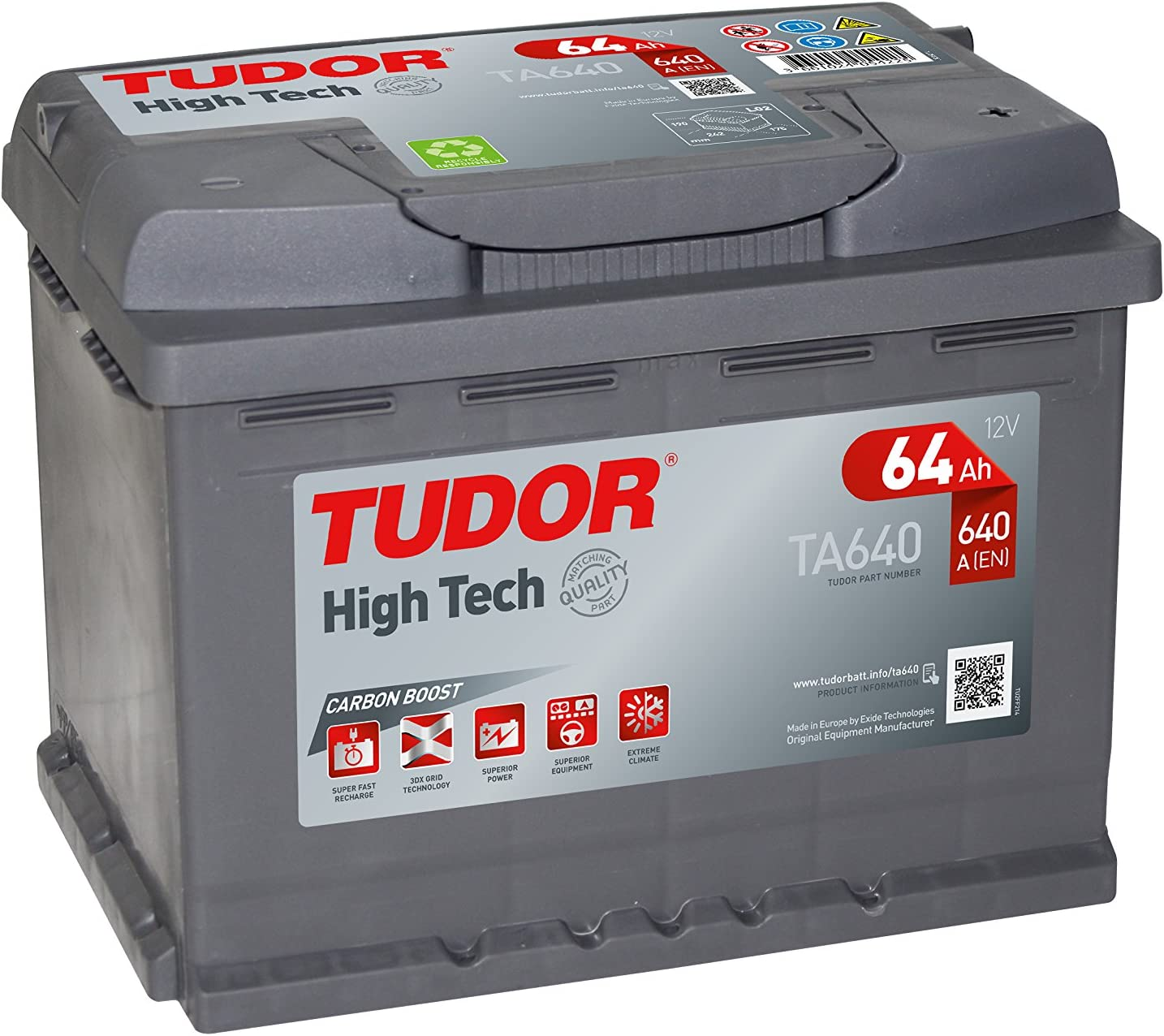 Batería para coche Tudor Exide HIGH-TECH 64Ah, 12V. Dimensiones: 242 x 175 x 190. Borne derecha.