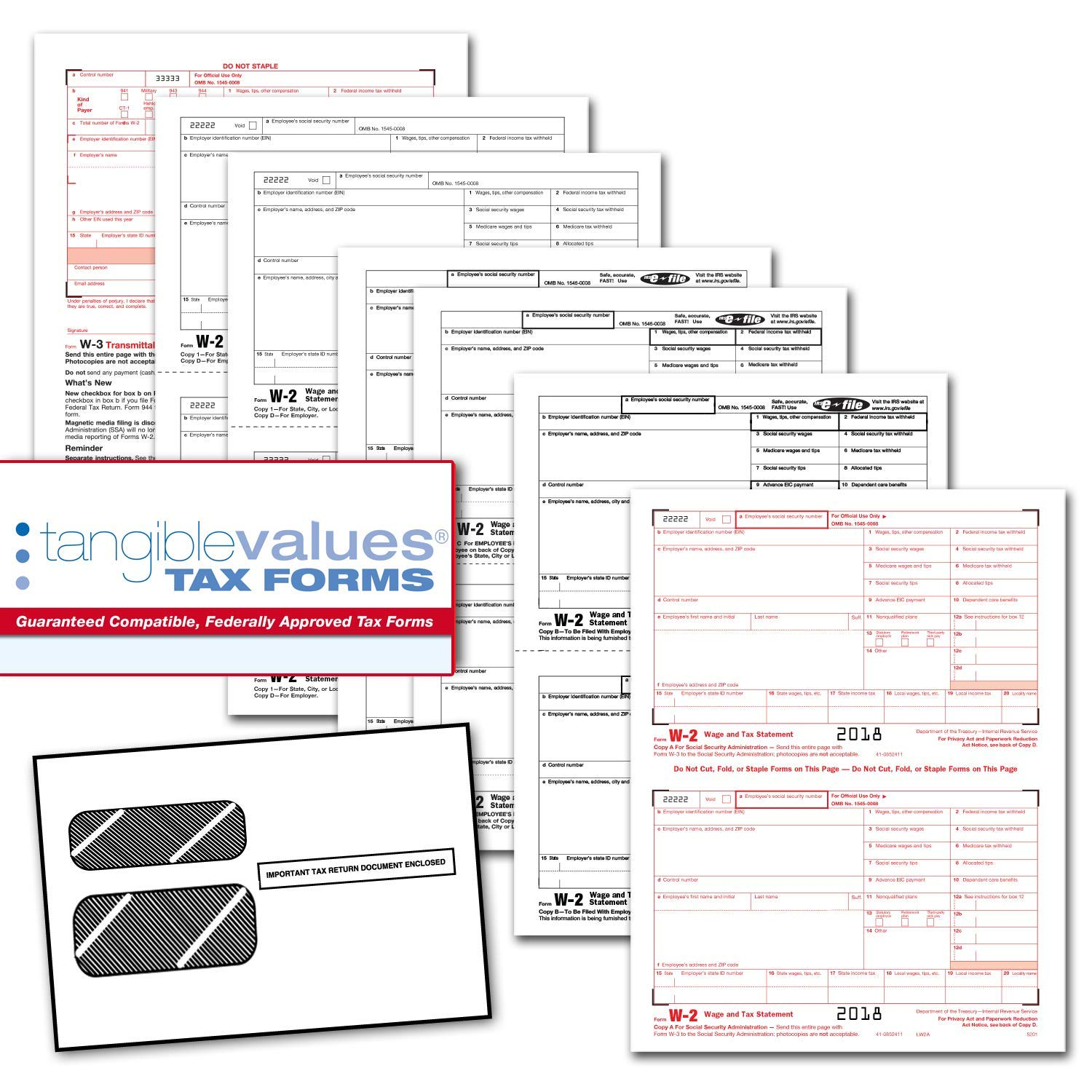 graphic about Printable W2 Forms for named Tangible Values W-2 Laser Styles (6-Aspect) Package with Envelopes for 25 Staff members (2018)