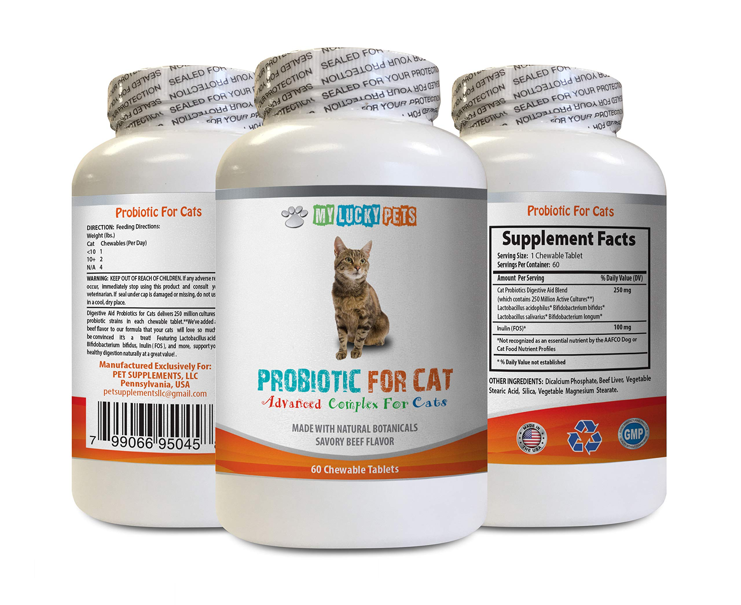 cat digestive enzymes and probiotics - CAT PROBIOTICS - ADVANCED NATURAL DIGESTIVE AID FORMULA - GET RID OF BAD BREATH AND STOP DIARRHEA - acidophilus for cats - 1 Bottle (60 Treats) by MY LUCKY PETS LLC