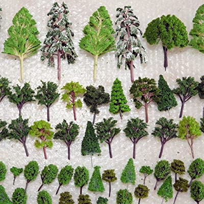 NW 25pcs Mixed Model Trees Model Train Scenery Architecture Trees Model Scenery with No Stands(0.79-2.36inch) (All Green): Toys & Games