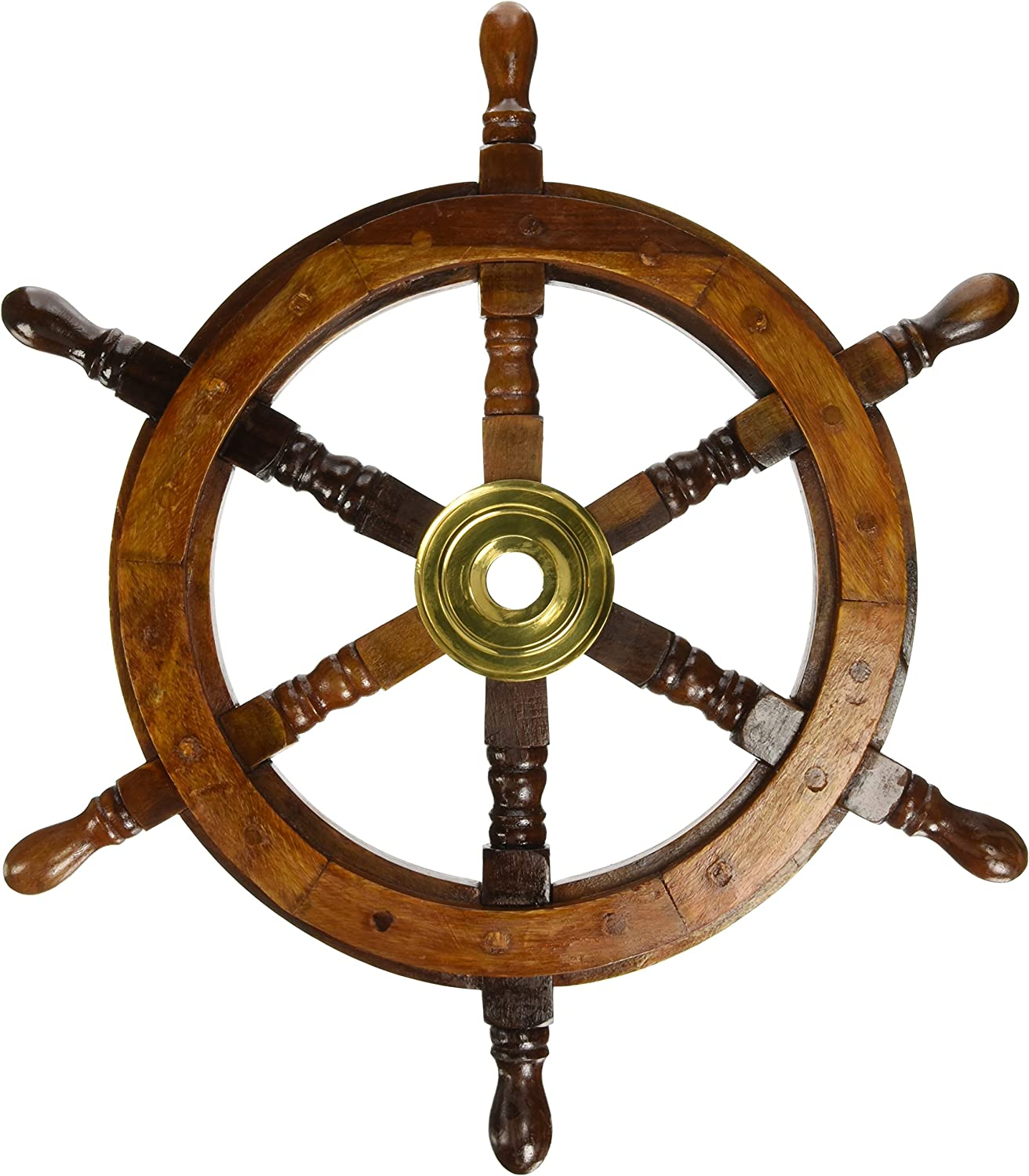 Amazon Com 18 Ship Wheel Wooden Pirate Boat Nautical Fishing Home Kitchen