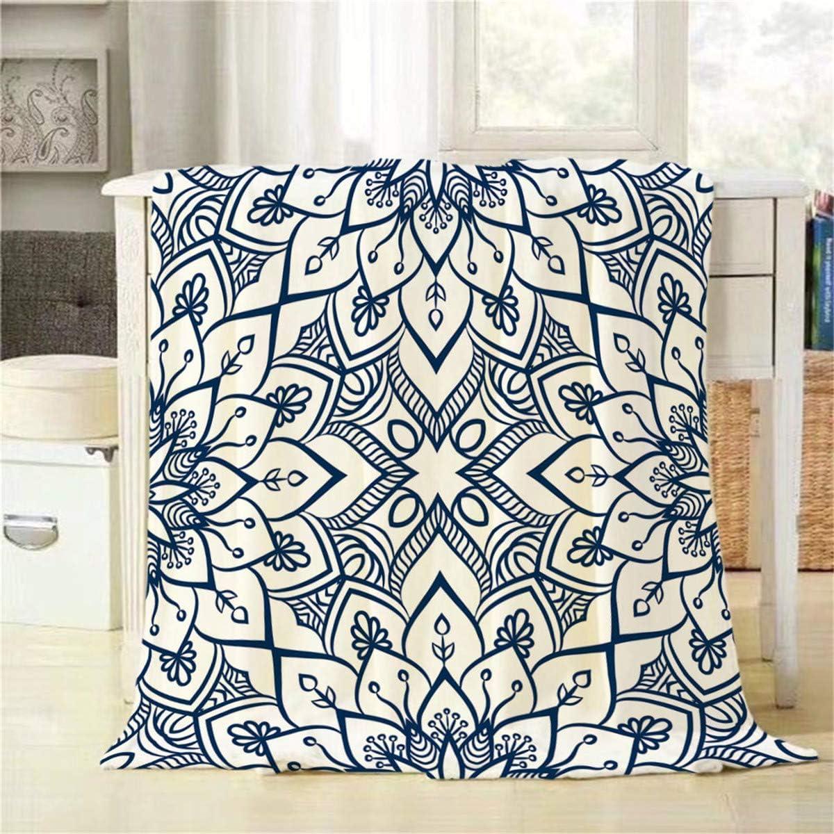 DSFAA Mandala Throw Blanket Motivos otomanos Indios Azules Patrón Floral Decorativo Suave Cálido Franela acogedora Mantas de Felpa Mantas para Ropa de Cama Sofá Sofá