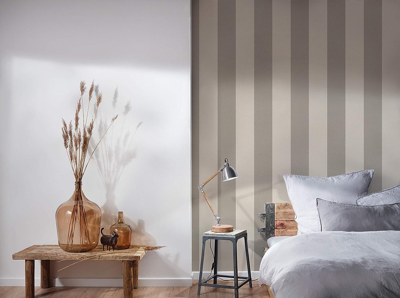 Cr/éation papel pintado de tejido-no-tejido Elegance gris blanco 10,05 m x 0,53 m 206367 A.S