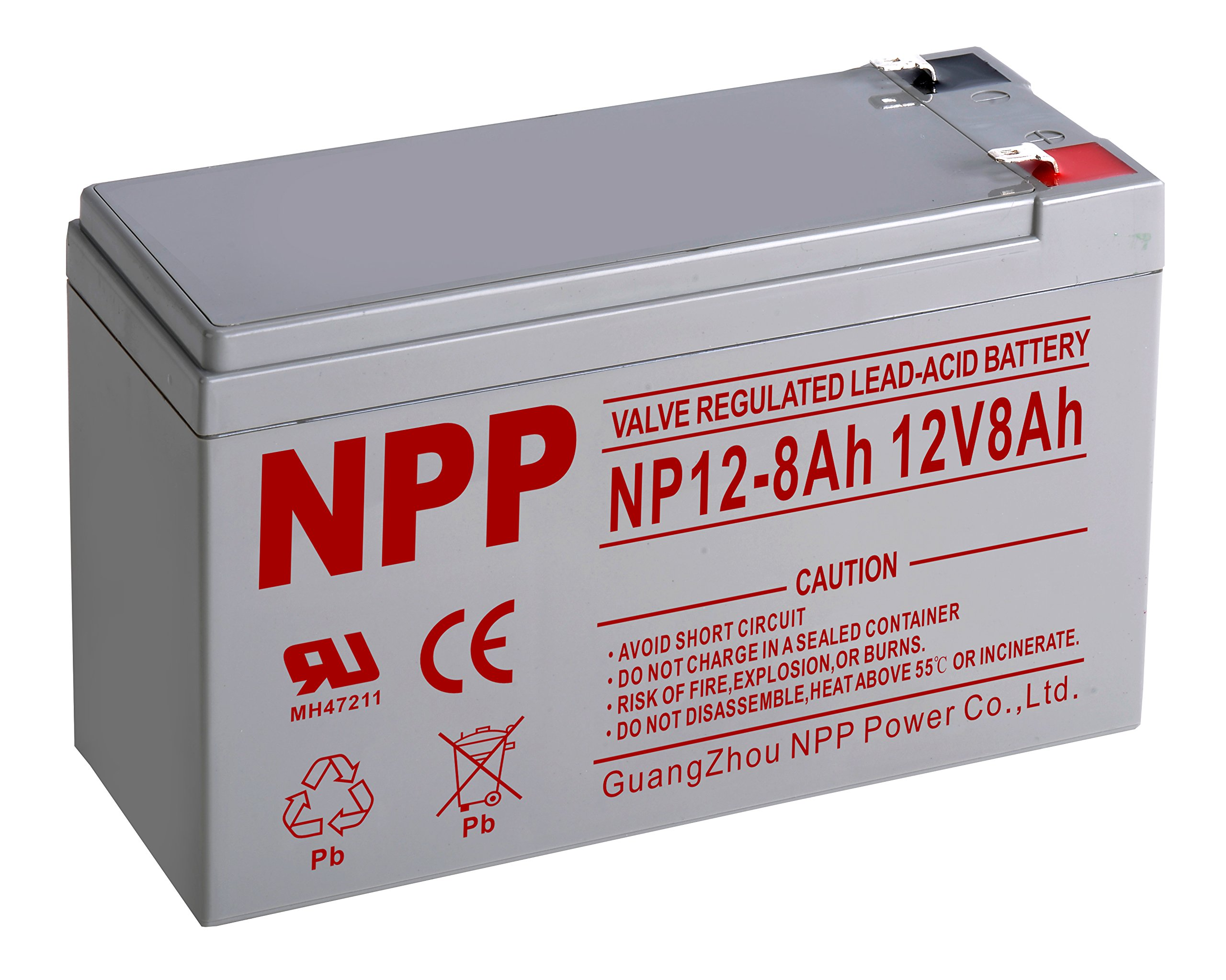 NPP NP12-8Ah Rechargeable Sealed Lead Acid 12V 8Ah Battery F1 Terminals