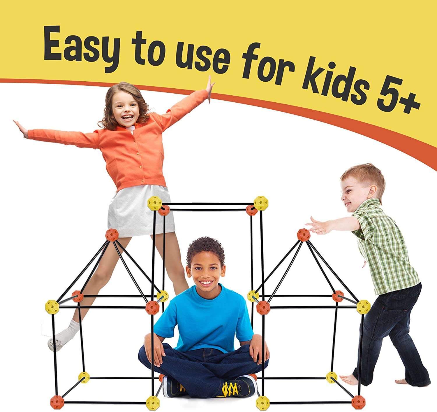 Matchaccino Construction Fort Building Kit - 77 Pieces with Storage Bag - Orange and Yellow