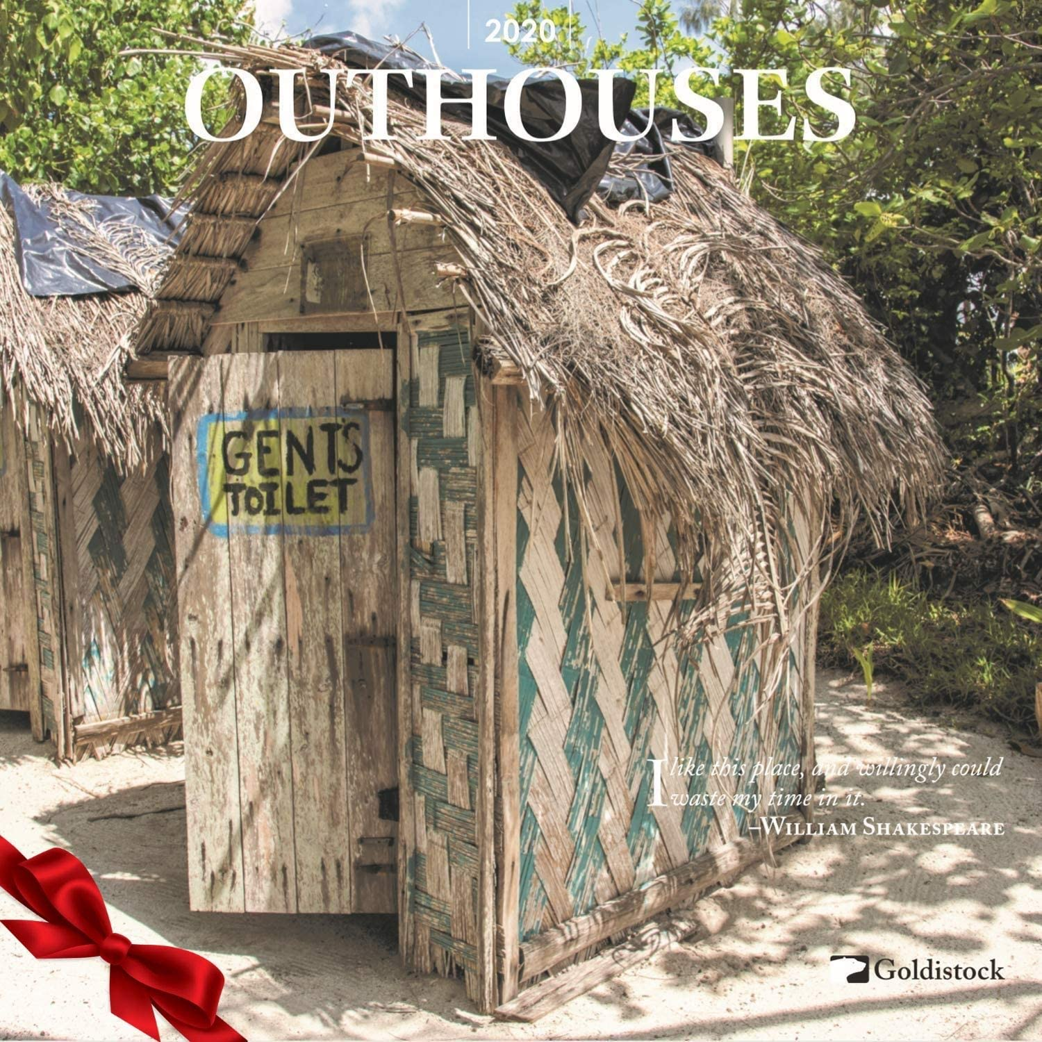 """Goldistock 2020 Large Wall Calendar -""""Outhouses"""" - 12"""" x 24"""" (Open) - Thick & Sturdy Paper"""